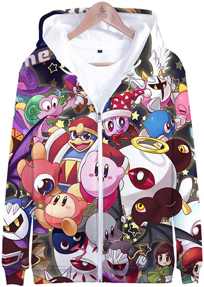 HTRWHTRE Serie de Videojuegos de Verano Star Kirby 3D Impreso en Color Cremallera Sudaderas con Capucha Abrigo para Hombre y Mujer