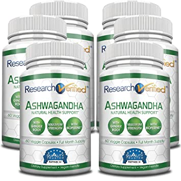 Research Verified Ashwagandha 1500mg Maximum Strength with Bioperine and  Ginger Root Reduce