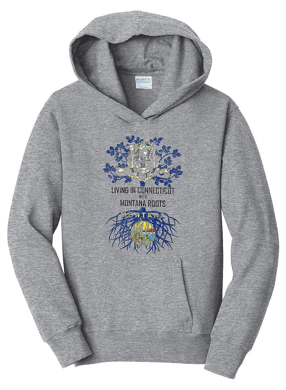 Tenacitee Girls Living in Connecticut with Montana Roots Hooded Sweatshirt