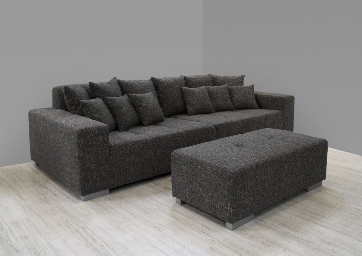 Dreams4Home Big Sofa Liona Wohnlandschaft Polstergarnitur Couch Polstersofa  Opt. Mit Hocker Grau, Hocker:mit Hocker Bestellen