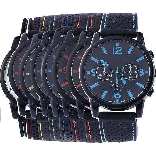 yunanwa 8 surtidos al por mayor los hombres de deporte silicona reloj muñeca relojes Riding Running: Amazon.es: Relojes