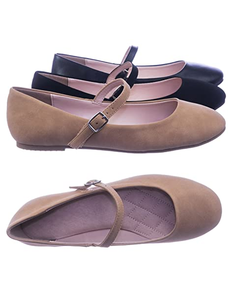 d7d2e1c0a Image Unavailable. Image not available for. Color: City Classified Women  Comfortable Padded Mary-Jane Round Toe Ballet Ballarina Flats ...