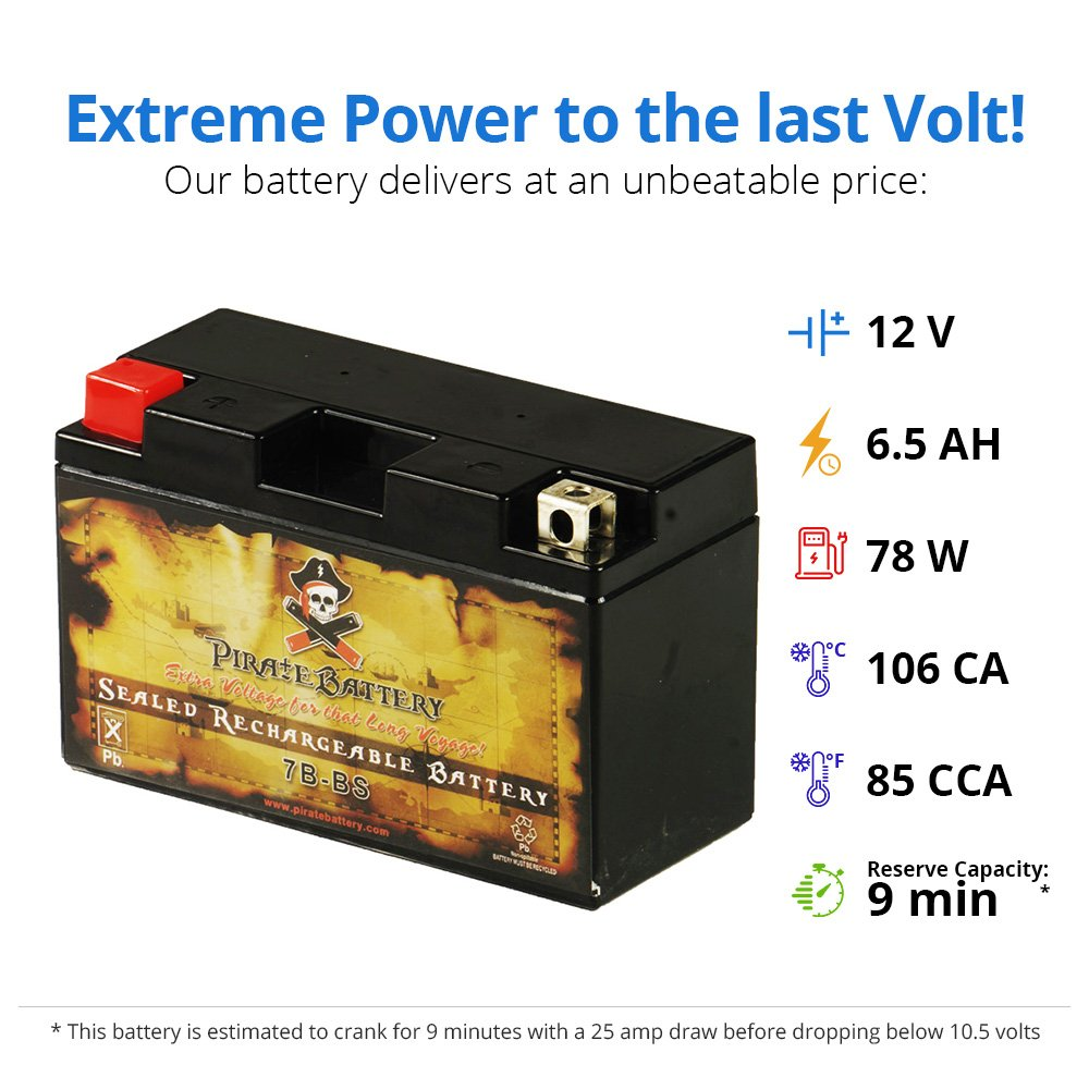 Sealed AGM Motorcycle Battery YT7B-BS High Performance Maintenance Free