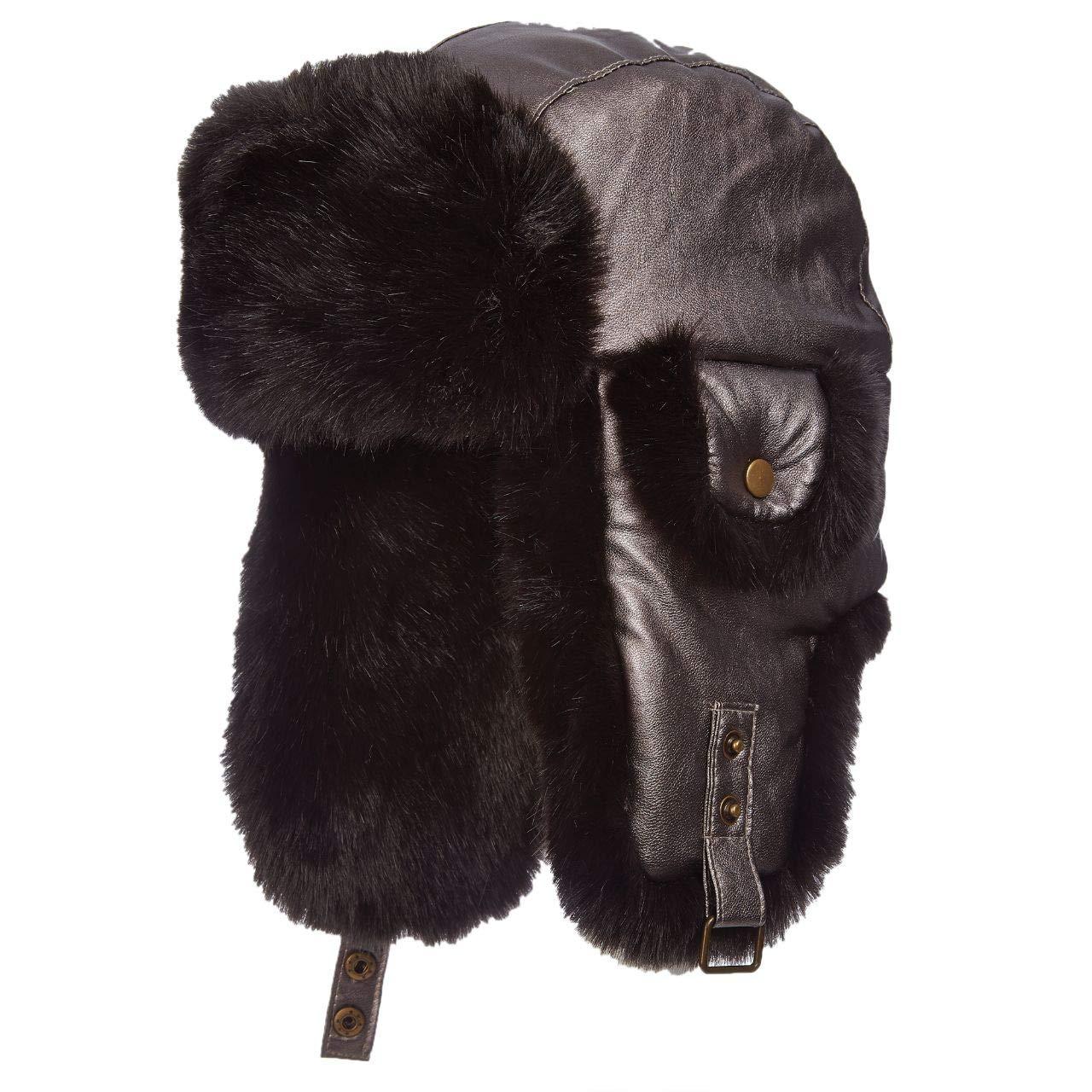 Scala Pronto Metallic Trooper Trapper Faux Fur Lined Ear Laps (LW685) (Black)
