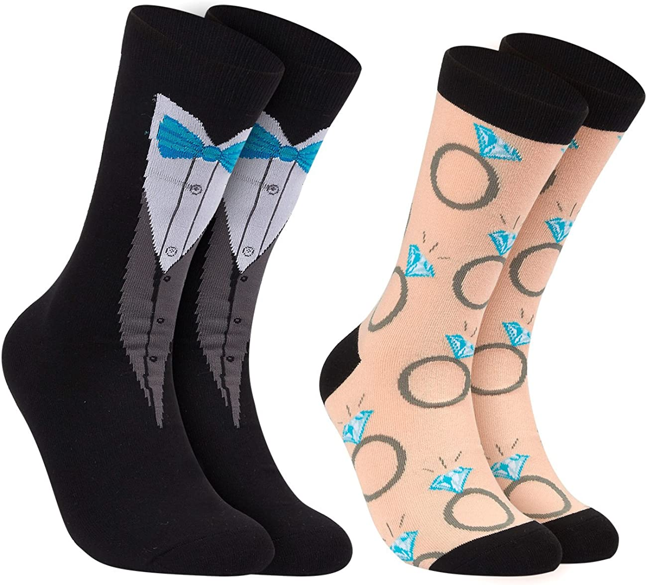 Groom and Bride Crew Socks - 2-Pair Novelty Socks for Party and Wedding