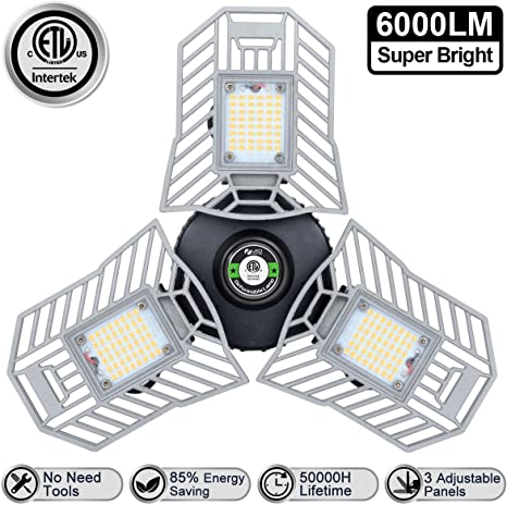 Tribright Garage Lights 60W 2 Pack LED Garage Lights 6000Lumens Garage Lighting for Shop Basement Barn Kitchen Laundry Room Lighting CRI80 Deformable Brightflex Garage Lights