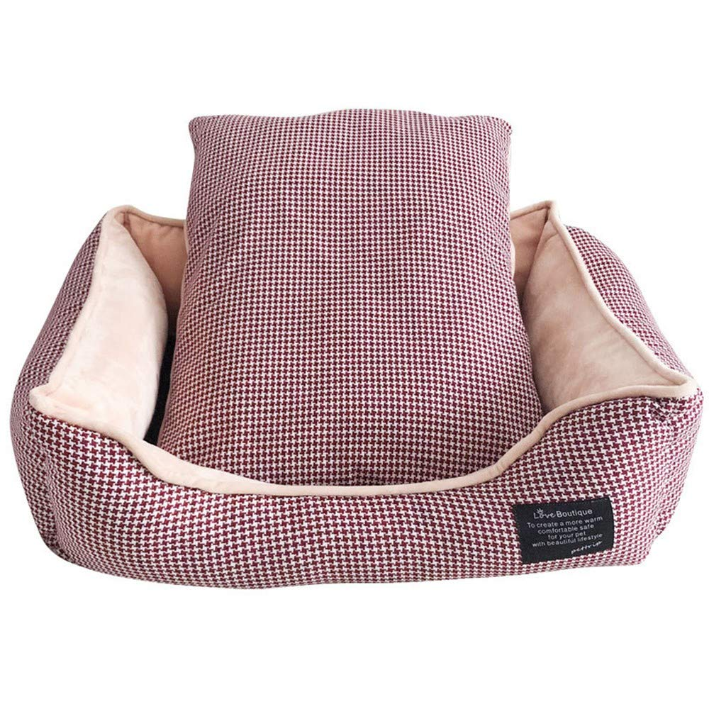 Red L red L DYEWD plush and PP cotton pet kennel,soft,comfortable,warm,washable,super breathable,easy to remove,red,L