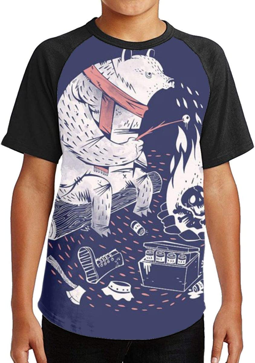 White Bear Fire BBQ Youth Kids T Shirt 3D Printed Short Sleeve Crew Neck Tees Shirts for Boys Children