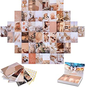 CCJK Wall Collage Kit, 50Pcs Wall Aesthetic Photo Collage, Gift For Teens and Young Adults Room Art Decoration, Aesthetic Pictures for Bedroom Decor , Postcards Sets, 4
