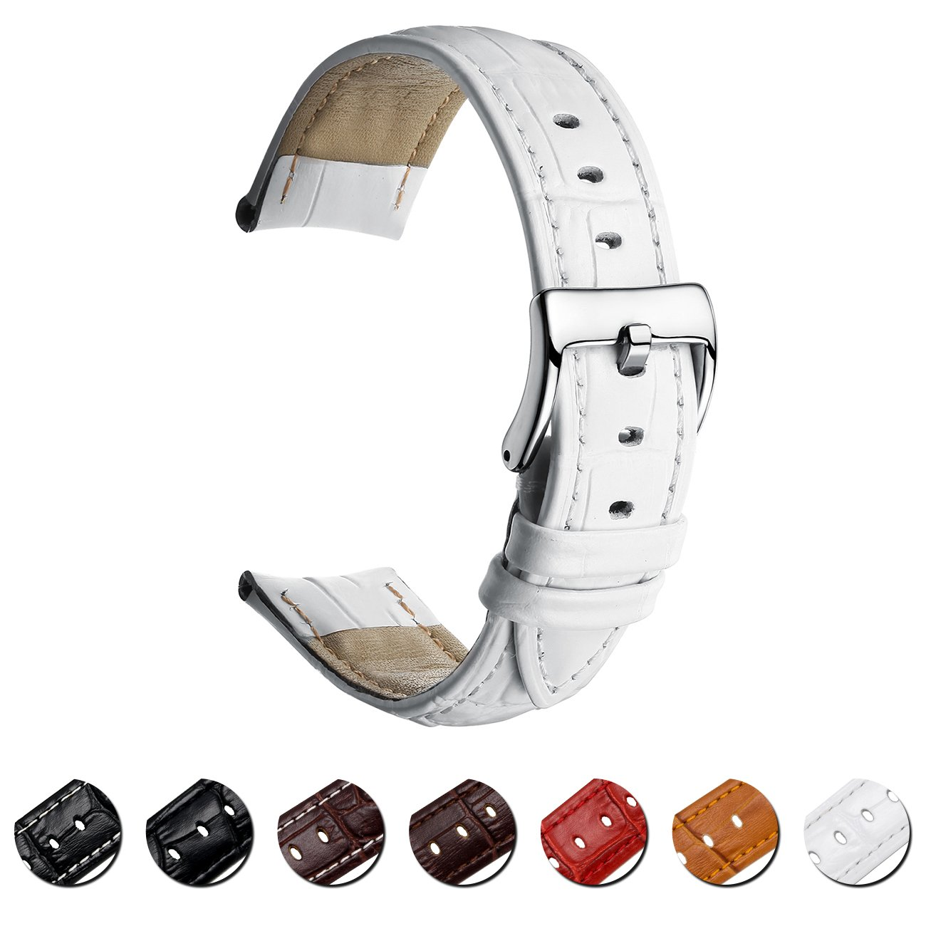 MEGALITH Leather Watch Band Top Calf Grain Genuine Leather Watch Strap 16mm 18mm 20mm 22mm Bands for Men and Women