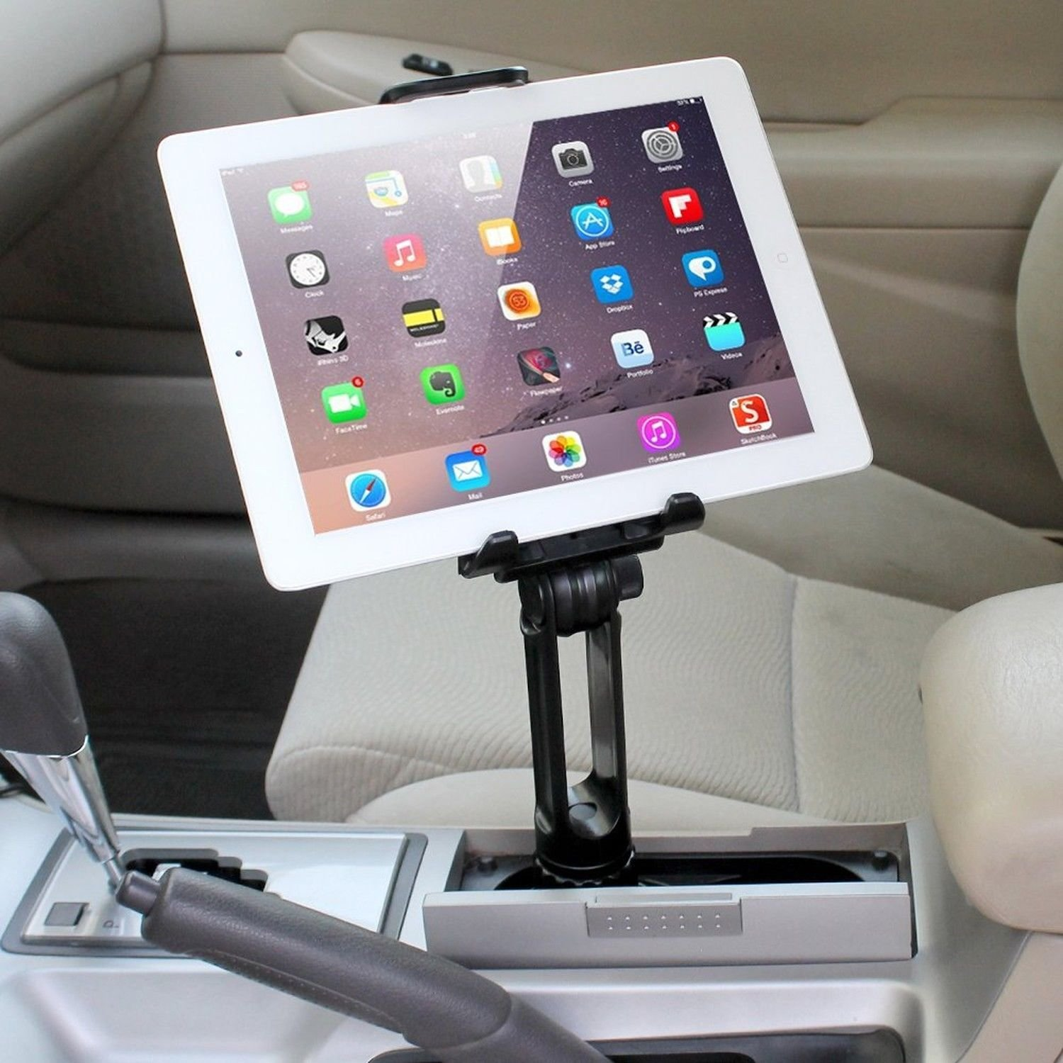 Cup Mount Holder iKross 2-in-1 Tablet and Smartphone Adjustable Swing Cradle with Extended Cup Car Mount Holder Kit for Apple iPad iPhone Samsung Asus Tablet Smartphone and Uber Lyft Driver - Black