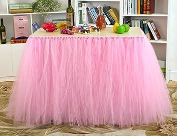 Stuffwholesale Tutu Table Skirt Baby Shower Birthday Party Children Decoration Pink
