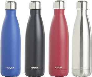 77b5d49b81 VonShef Set of 2 550ml Glass Drinking Bottles/Gym or Sports Bottle With Light  Blue