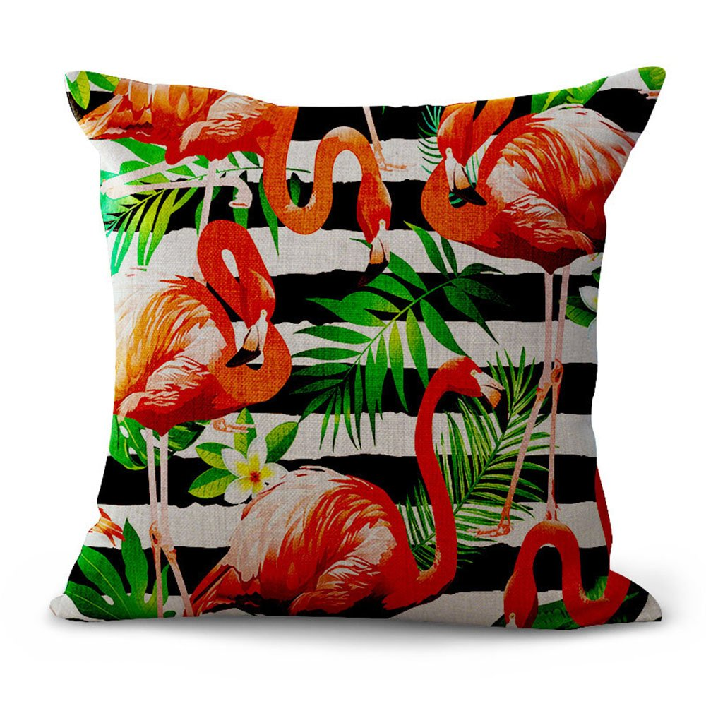 Hengjiang Nordic Style Pink Cushion Covers Tropical Series Flamingos Cotton Linen Square Pillow Case Cushion for Home Chair Sofa Bed Shop Bar Club Car Office Decor(#01)