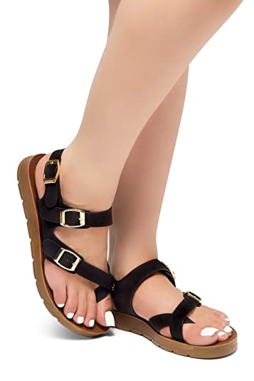 bf46df0cab7ed Herstyle Sure Thing Flat Sandals with Buckle Black 6.0