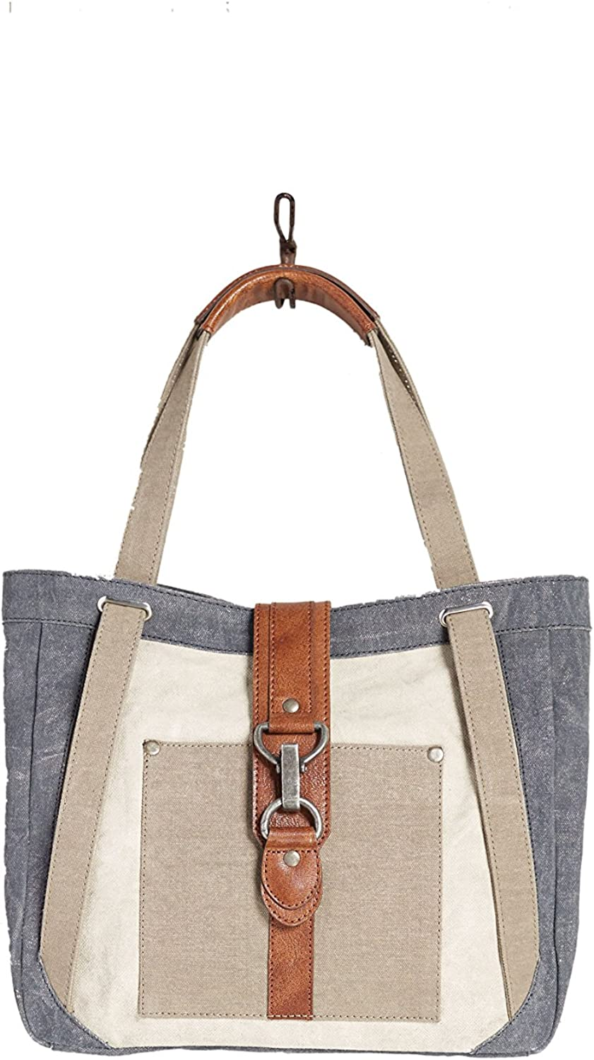 Mona B. Nora Sky Blue Upcycled Canvas Shoulder Bag and Finley Crossbody with Vegan Leather Trim MD-5905