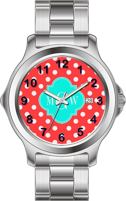 FDC–Navidad Regalo Relojes Hombre Fashion Fecha Acero Inoxidable Reloj de Pulsera de Cuarzo japonés Coral Blanco Lunares BRT Aqua Quatrefoil 3Monogram