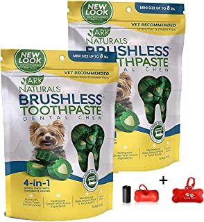 product image for ARK NATURALS Brushless Toothpaste, Dog Dental Chews for Mini Breeds, Vet Recommended for Plaque, Bacteria & Tartar Control, 2 Pack (8oz Total) Including Luving Pets Waste Bag Dispenser