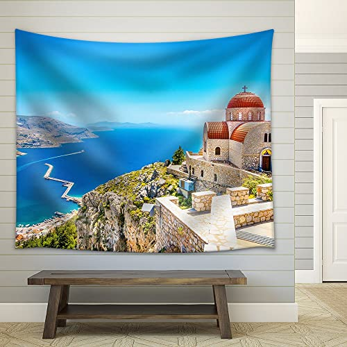 wall26 – Amazing View on Remote Church with Red Roofing on The Cliff of The Sea, Greece – Fabric Wall Tapestry Home Decor – 68×80 inches