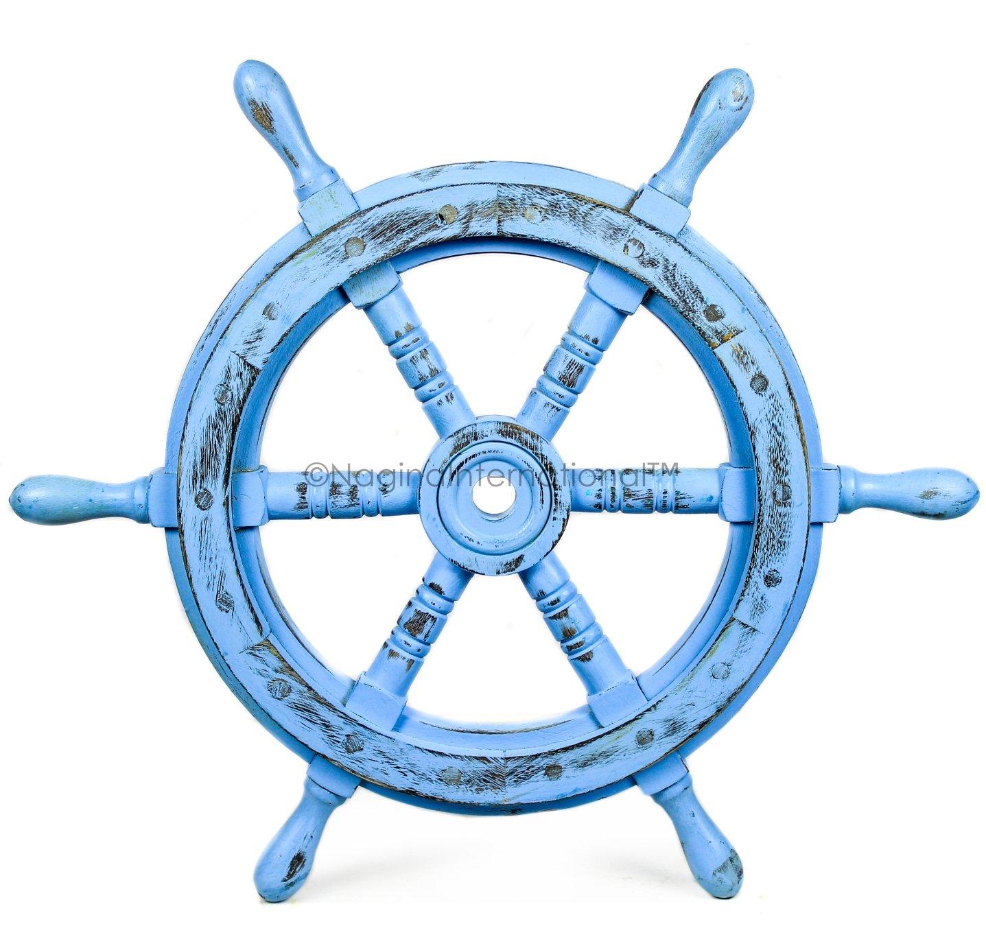 Nagina International(ナジャイナインターナショナル) Nautical高級ハンドクラフト木製操舵輪 | 海賊風家庭壁装飾&ギフト |16 Inches ブルー nw-ant-av16 B075W5QN92 16 Inches|Antique Sky Blue Antique Sky Blue 16 Inches