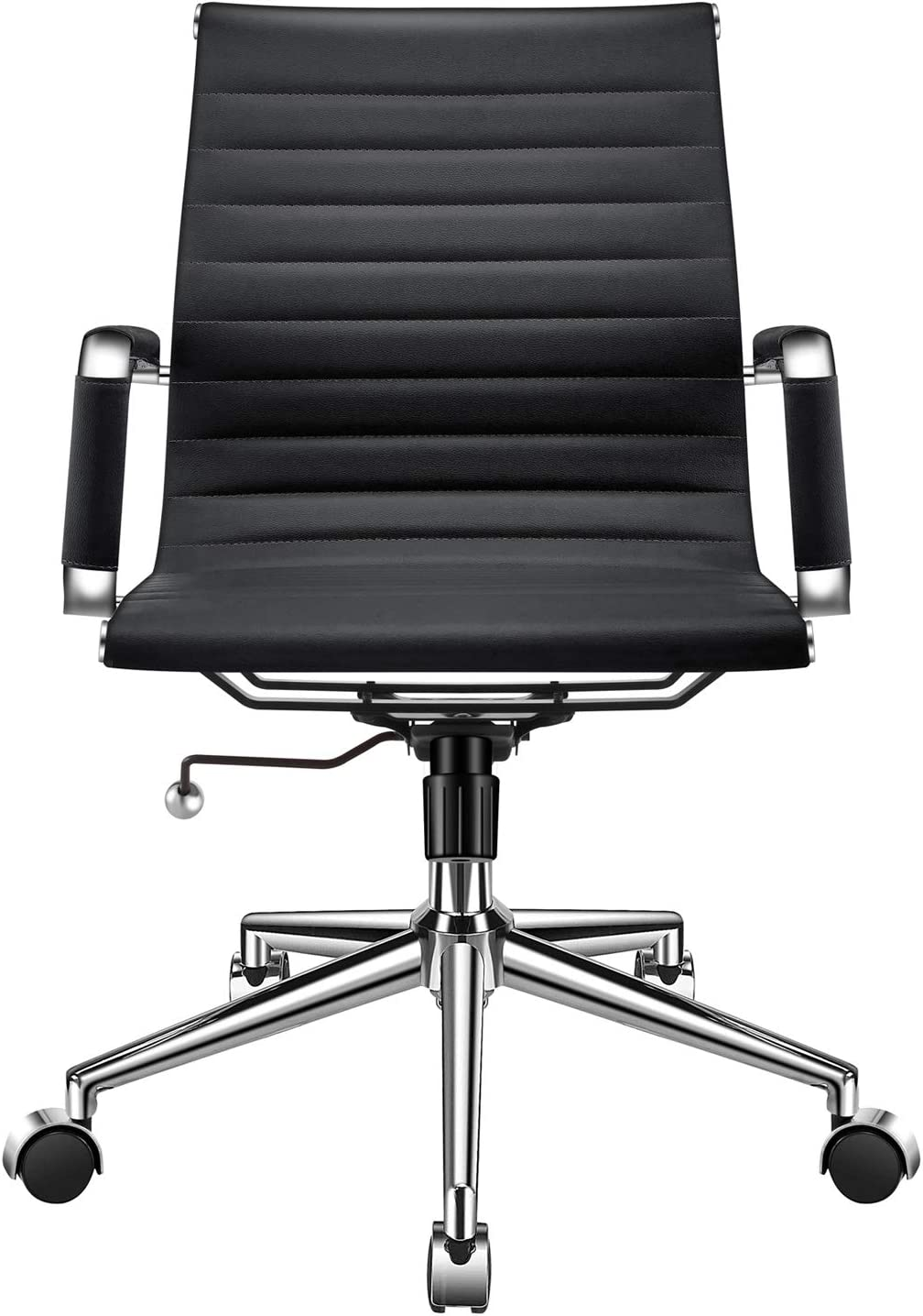 LUXMOD Modern Office Chair, Mid Back Office Chair Black, Desk Chair with Armrest, Black Conference Chair, Ribbed Office Chair, Black Swivel Chair-Black