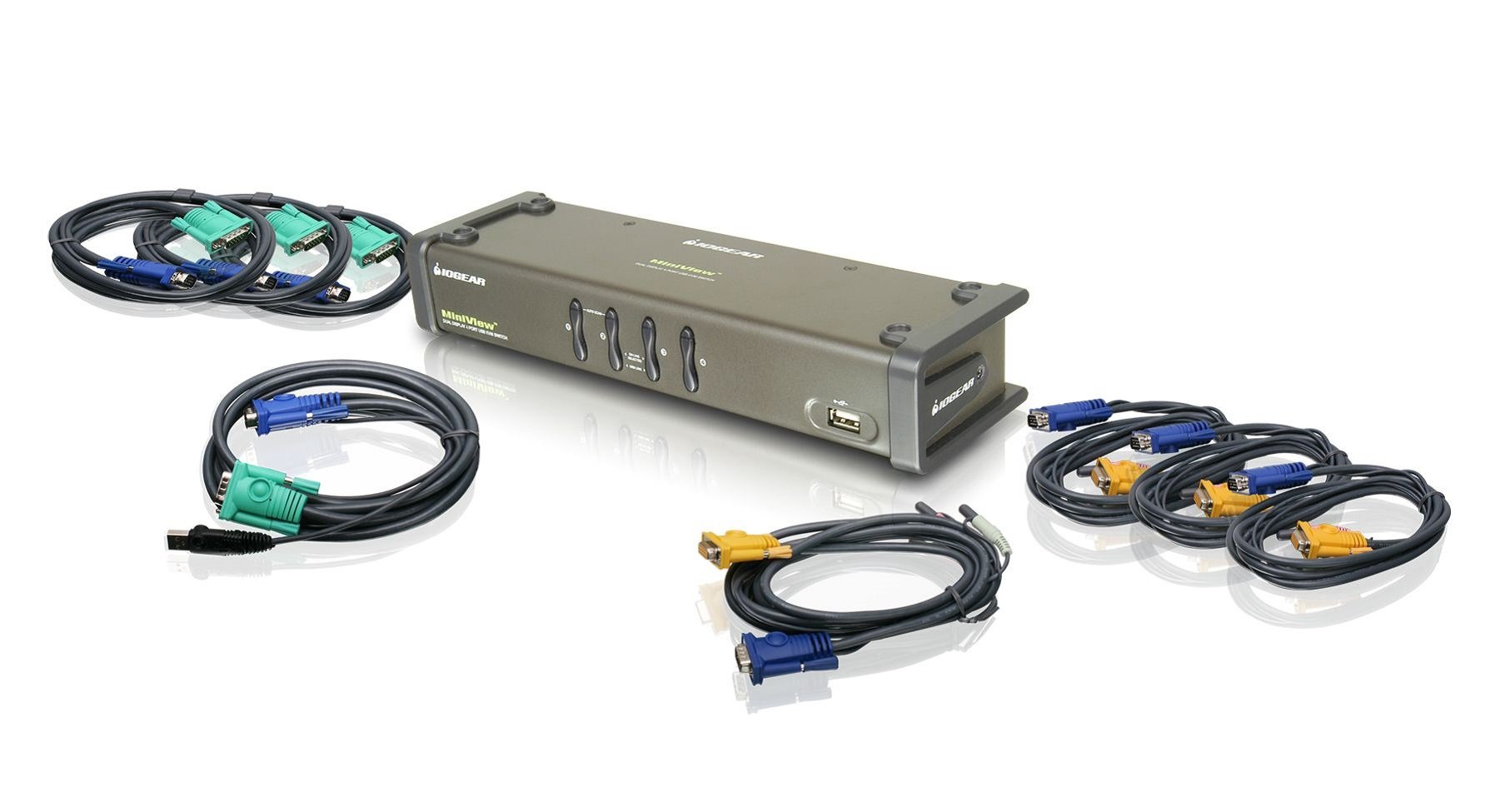 IOGEAR 4-Port DualView USB VGA KVMP Switch with Audio and Cables, TAA Compliant, GCS1744