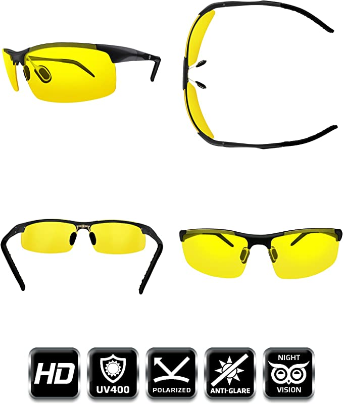 Anti Glare Night Driving Glasses Wraparound Polycarbonate Shatterproof UV400 Lens I-Sential Hard Case /& Cloth