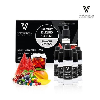 VAPOURSSON 5 x 10 ml E-líquido paquete de sabores | Cereza Manzana | Mango