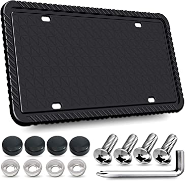 Bisou Silicone License Plate Frame Universal American Auto License Plate Holder Black//Gray//White License Plate Protector Rust-Proof Rattle-Proof Weather-Proof