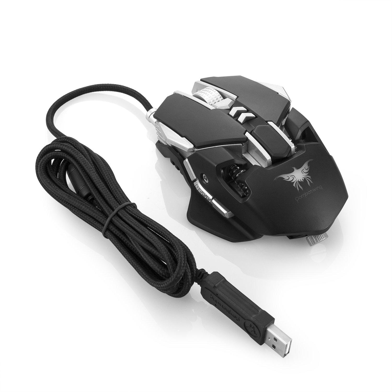 COMBATERWING USB Gaming Ratón para Profesional Jugador, 7 programables Botones Iluminación LED 4 colores, Ergonómico, DPI Ajustable a Base de Aluminio ...