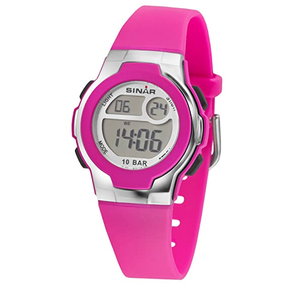 Sinar jugenduhr Digital Chica de rosa 10 bar XF 60 - 18: Amazon.es: Relojes