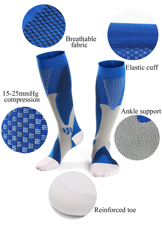 Hellomamma Compression Socks for Men Women 15-25mmHg Calf Support Knee High Sport Socks for Marathon Running Maternity Nurse