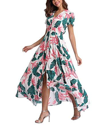 faa67d6690f V fashion Women s Floral Maxi Dress Button Up Split Summer Boho Long Beach  Dress at Amazon Women s Clothing store