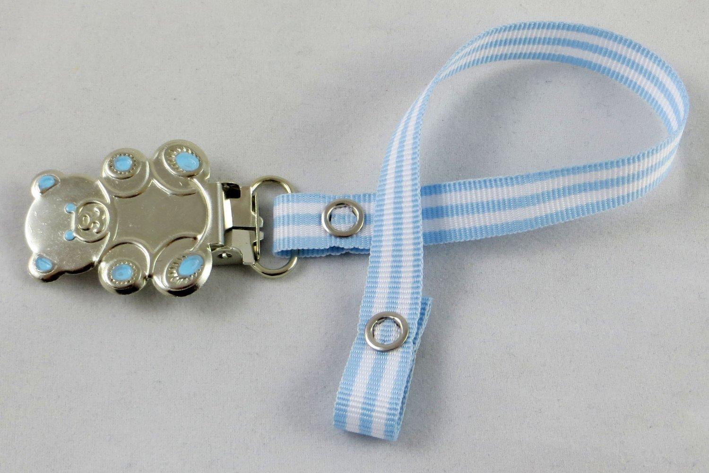 white Girl Boy Teddy Bear Pacifier Holder Clip white Satin Dressy Great for Nuk Avent.
