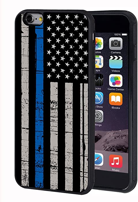 iPhone 6 Plus Case,iPhone 6S Plus Case,BWOOLL Thin Blue Line American Flag TPU Protective Cover for Apple iPhone 6 Plus/iPhone 6S Plus (5.5 inch)