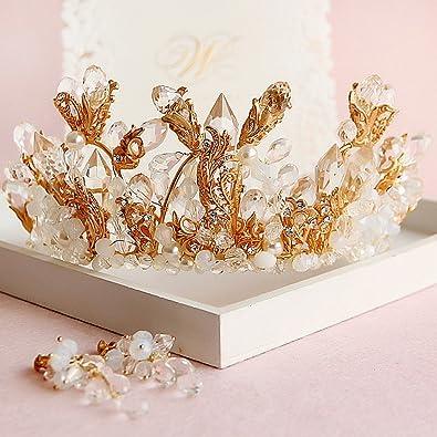 Amazoncom Large Bride Crown Tiara European High End Cylindrical
