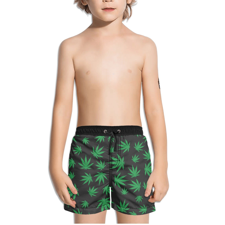 Ouxioaz Boys Swim Trunk Green Weed Beach Board Shorts