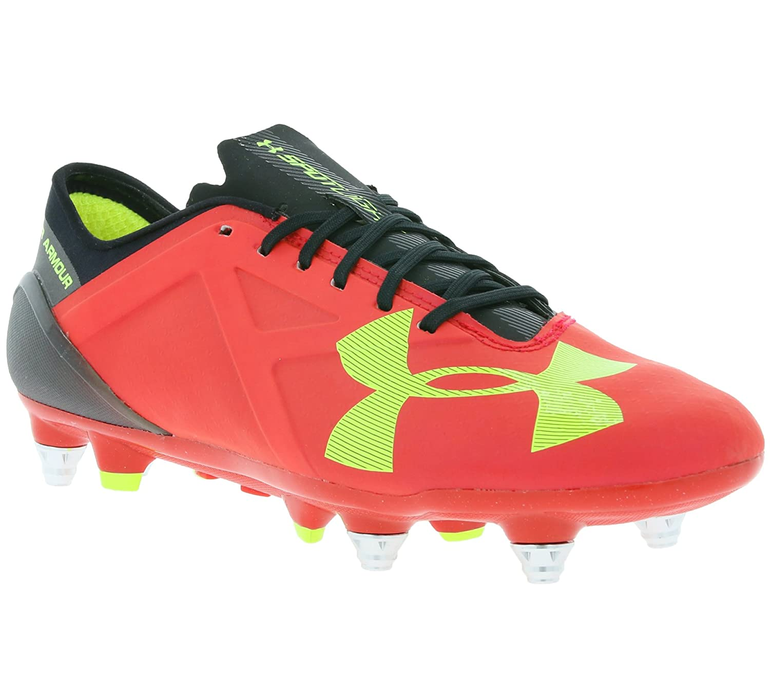 Under ArmourメンズUAスポットライトハイブリッドSoccer Cleats B015D8L962 6 D(M) US|Rocket Red/High-vis Yellow/Black Rocket Red/High-vis Yellow/Black 6 D(M) US