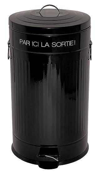 Incidence Paris 75188 Poubelle Rétro 50 L Par Ici La Sortie Métal Noir 36 X 66 5 Cm