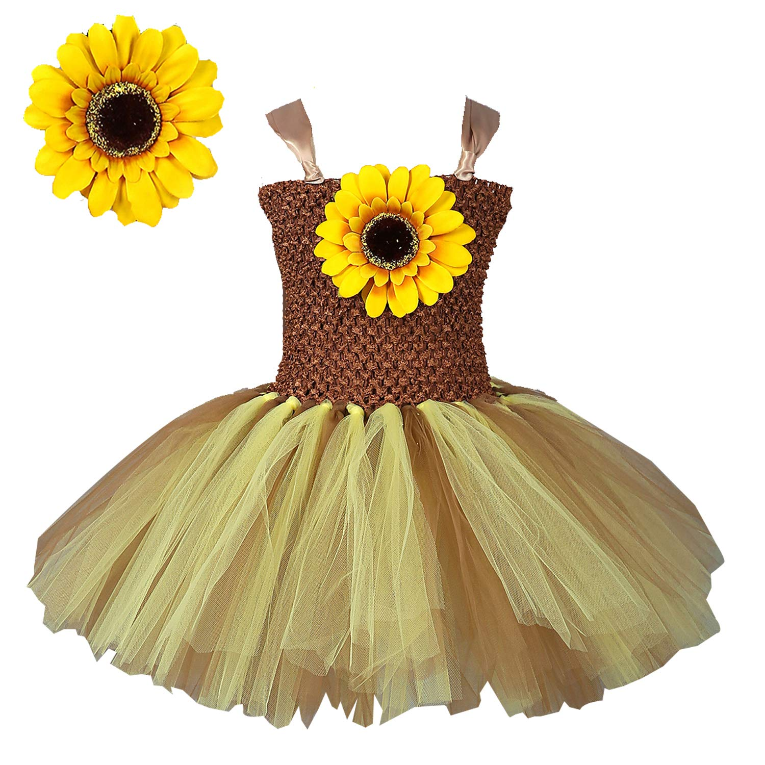 c8704e4f4a45f Meelino Toddler Baby Girls Tutu Dress Sunflower Lace-up Costumes Outfits  Dress Up