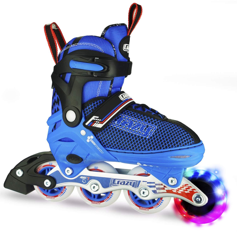 Crazy Skates Adjustable Inline Skates with Light Up Wheels | Roller Blades for Boys | Blue Medium (Sizes 1-4)