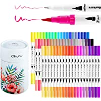 Ohuhu Art Markers Dual Tips Coloring Brush Fineliner Color Pens, Water Based Marker for Calligraphy Drawing Sketching Coloring Book Bullet Journal Art Mother's Day Back to School Gifts (60 Colors)