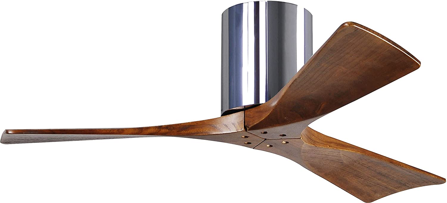 Matthews IR3H-CR-WA-42 Irene 42 Outdoor Hugger Ceiling Fan with Remote Wall Control, 3 Wood Blades, Polished Chrome