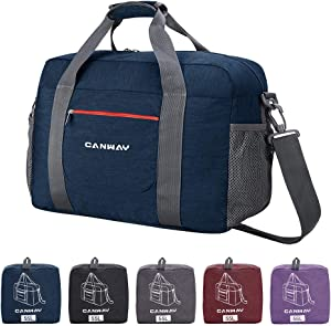 Travel Duffel Bag, 55L Foldable Duffel Bags for Luggage Sport Gym Duffel Weekender Overnight Bag for Men Women Water-proof (Blue)