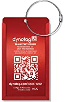 Dynotag Web/GPS Enabled QR Smart Aluminum Convertible Luggage Tag w. Steel Loop in Six Colors