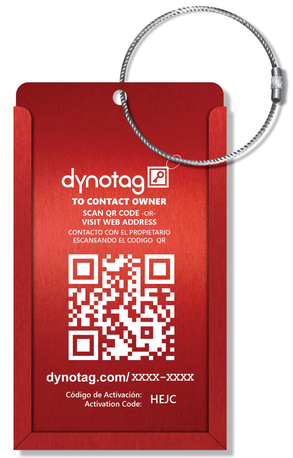 Dynotag® Web/GPS Enabled QR Smart Aluminum Convertible Luggage Tag w. Steel Loop in Six Colors (Red ) Idkitalum