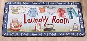 """Laundry Room 40.5"""" Long Cushioned Runner Clothesline MAT Decor Rug Washer/Dryer Cushion"""