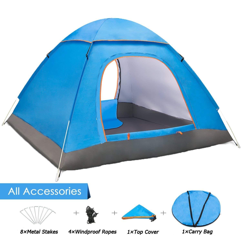 ANSTEN 3-4人用キャンプテント、2ドア防水折りたたみテント、キャリングバッグ付き、カップル旅行用リュックサック、キャンプ   B07FLPY25N