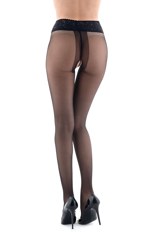 Miss O X Lace Top Open Crotch Pantyhose Black-Small//Medium