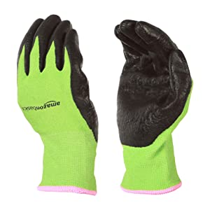 AmazonBasics Working and Gardening Gloves with Touchscreen, Green, S, 5-Pair
